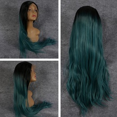 Long Natural Straight Synthetic Lace Front Wig Heat Resistant Fiber Women Wig Ombre Black to Green