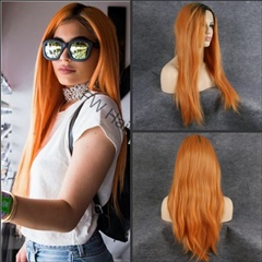 Celebrity Kylie Lace Wigs Ombre Synthetic Lace Front Wigs Glueless Synthetic Hair Wigs Natural Looking Wigs #1B/Orange