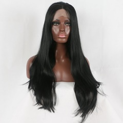 Natural Hair Wig Synthetic Lace Front Wigs for Black Hair Free Part #1B Heat Resistant Hand Tied Lace Part Masquerade Daily Synthetic Wigs