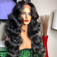 Kanekalon Fiber Synthetic Hair Wigs For African Americans Body Wavy Front Lace Synthetic Wigs for Women #1b Black Wigs