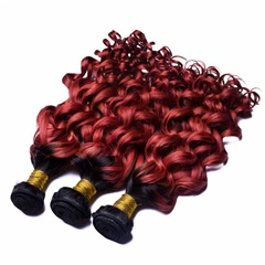 Brazilian Ombre Hair Extensions Brazilian Curly Two Tone Color 100 Cheap Human Hair Weave Bundles 1B Burgundy 99J Weft Hair Extension