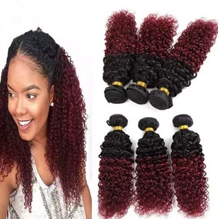1B Red Kinky Curly Human Hair Extensions 100% Unprocessed Mongolian Virgin Human Hair Two Tone Color Weft Hair Extension