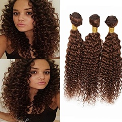 100% Unprocessed Virgin Human Hair Extensions Indian Hair Light Auburn Color #30 Jerry Curly Extensions Bundles Weft Human Hair
