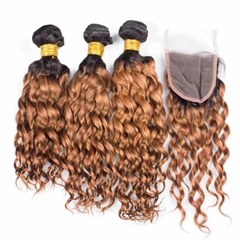 Indian Weft Virgin Hair Ombre Blonde Two Tone 1b 27 Weft Hair Extension Kinky Curly Hair Bundles Human Hair Extension