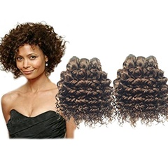 Grace Fantasy Hair 100% Unprocessed Ombre Virgin Short Hair #4 Color Human Hair Extension Kinky Curly Peruvian Hair Weft Hair Extension