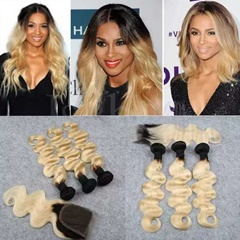 Unprocessed Peruvian Virgin Body Wave Double Weft Soft And Silky Human Hair Extension Long Hair 1B T Blonde Color Weave Hair Extension