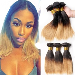 Two Tone Peruvian Weave Hair Silky Straight Ombre Peruvian Straight Short Human Hair 1B 27 Color Or 1B 30 Color Weft Human Hair