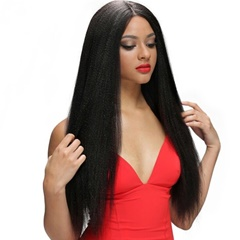 "Grace Fantasy natural black human hair yaki straight lace front wigs pre plucked gluess lace wig virgin human hair 8-22"" yaki straight hair wig with Elastic Adjustable Straps and Combs for women"
