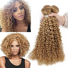 Fashion Grace Fantasy Hair Mongolian Human Hair Ombre Mongolian Kinky Curly Weft Hair Extensions Blonde Weave Hair