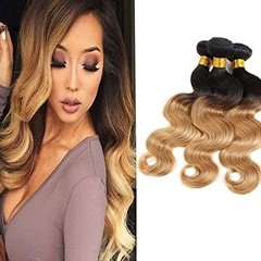Mongolian Hair Extensions Unprocessed Virgin Curly Wave Hairstyle 1B #27 Color Human Hair Mongolian Hair Weave Bundles Human Hair Weft