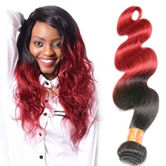 Fashion Grace Fantasy Hair Unprocessed Indian Virgin Body Wave Human Hair Extensions 1B Burgundy Tone Color Weft Extensions Human Hair Wefts