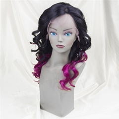 Grace Fantasy Black To Purple Human Hair Wig for Black Women Glueless Full Lace Wigs Ombre Deep Wave Lace Front Wig with Baby Hair