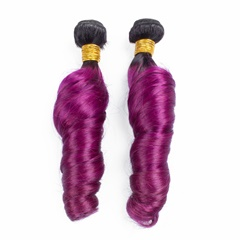 Grace Fantasy Hair Mongolian Ombre Hair Two Tone Color 1B Purple Mongolian Virgin Hair Extensions 3PCs Candy Curly Weft Human Hair Extension
