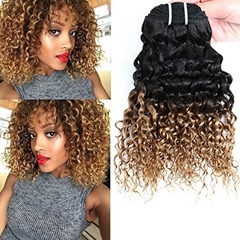 Hair Products Brazilian Hair Extentions 1B #27 Kinky Curly Ombre Human Hair Soft Brazilian Weft Hair Extentions Tone Color Hair