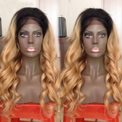 Grace Fantasy Brazilian human hair Ombre blonde Full lace wigs Dark root Loose wave Bleached knot Pre plucked hairline Lace front wig