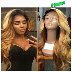 Grace Fantasy Brazilian human hair Ombre blonde Full lace wigs Glueless Dark root Loose wave Lace front wig Bleached knot Pre plucked hairline