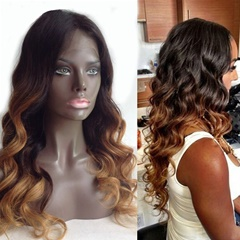 Grace Fantasy Brazilian human hair Ombre blonde Full lace wigs Dark root Loose wave Lace front wig Glueless Bleached knot Pre plucked hairline