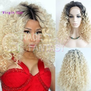 1B Blonde Kinky Curly Human Hair Lace Front Wigs