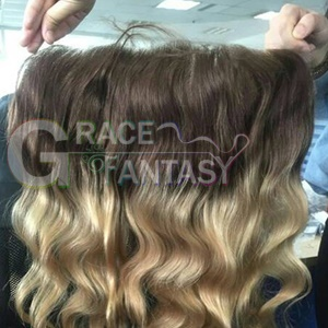 #4/27 Brown to Blonde Brazilian Human Hair Lace