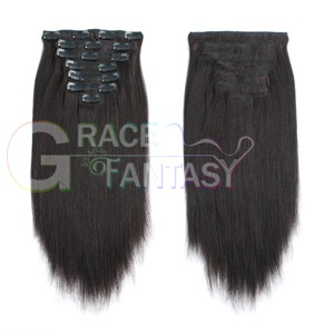 remy human hair lip in hair extensions Yaki straight Double Wefts