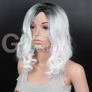 Dark Roots White Curly Wig
