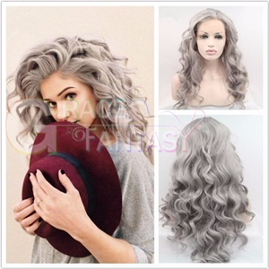 gray grey synthetic lace front wigs wavy heat resistant fiber hair