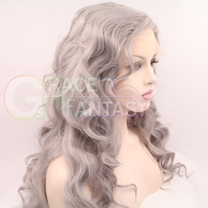 grey synthetic lace front wigs wavy