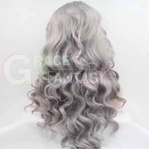 gray synthetic lace front wigs wavy