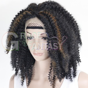 Kinky Curly Highlighted Synthetic Lace Wigs