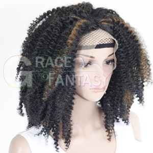 Kinky Curly Highlighted Synthetic Lace Wig