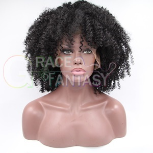 top quality synthetic lace front wig high kinky curly for black women in stock