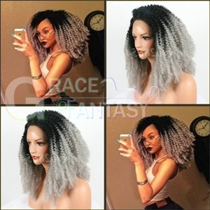 Black Ombre Grey Kinky Curly Synthetic Hair Wigs