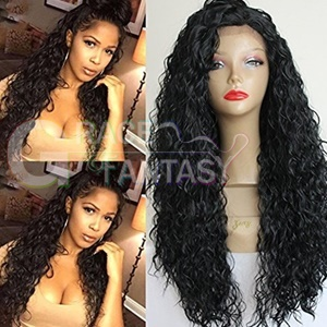 hot glueless heat resistant natural black/#1b afro kinky curly synthetic lace front women wigs