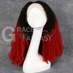 kinky curly synthetic lace front wig for black women