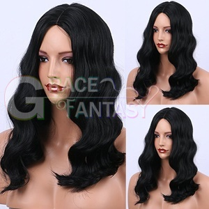 cheap fashion loose curly synthetic lace front wig heat resistant for african american wigs with baby hair black women
