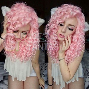 Glueless Pink Curly Synthetic Hair