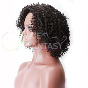 black Highlight blonde Curly Wigs