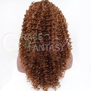 fashion ombre #2/#33 blonde synthetic lace front wig heat resistant hair afro kinky curly women wigs