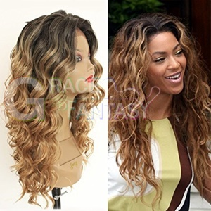 Long Blonde Ombre Curly Lace Wigs