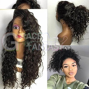 fashion water wave ombre grey synthetic lace front wig glueless long dark brown/silver gray heat resistant hair woman wigs