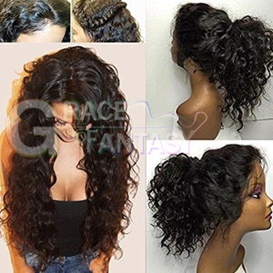 Natural black water wave synthetic lace front wig