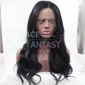 Grace Fantasy Hair body wave lace front synthetic black to blonde wigs for women half hand tied heat resistant #1b