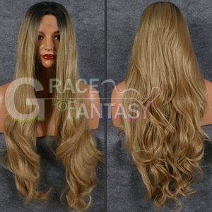 Long Dark Root Blonde Synthetic Wig