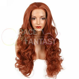 auburn synthetic lace front wigs heat resistant wavy natural hair