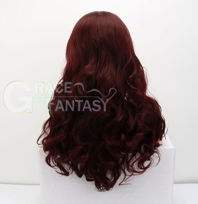 Synthetic Hair Lace Wigs Burgundy Body Wave