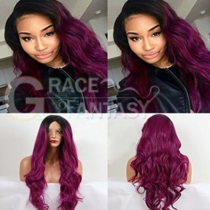 Ombre Long Wavy Synthetic Lace Front Wigs