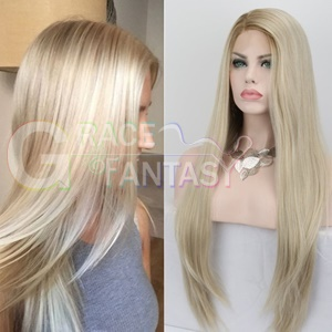 wholesale silky straight black to blonde glueless synthetic lace front wig heat resistant for women cheap wigs