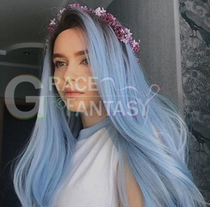 Long Straight Heat Resistant Fiber Hair Ombre Lace Wigs Light Blue Synthetic Lace Front Wigs