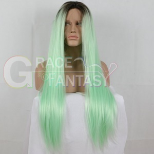 green long heat resistant fiber hair synthetic lace wigs for women