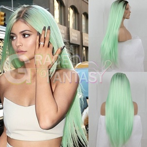 Glueless dark roots mint green two tone ombre hairs